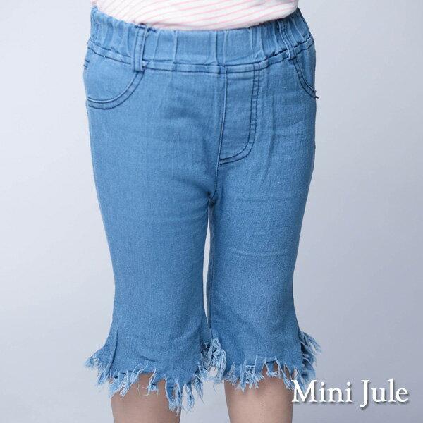 《MiniJule童裝》短褲流蘇造型後雙口袋短褲(淺藍)