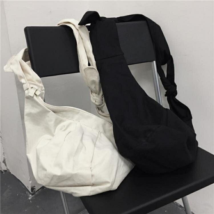 帆布包定制LOGO圖案ins腰包胸包暗黑系打結綁帶包潮人斜背包男女