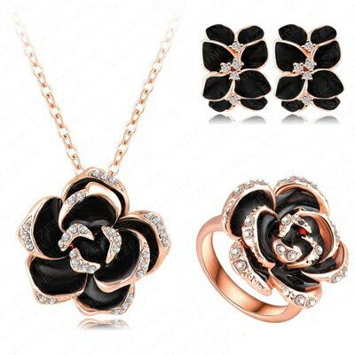 ~玫瑰金項鍊 附純銀戒指耳環 套裝 ~花朵 七夕情人節生日 女飾品73bi8~ ~~米蘭