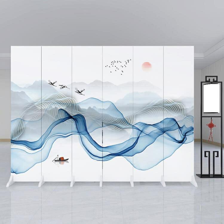 【快速出貨】4扇加板新中式屏風隔斷墻客廳折疊移動簡約現代辦公室臥室內裝飾家用遮擋創時代3C 交換禮物 送禮
