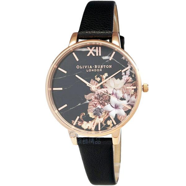 OLIVIABURTONOB16CS01玫金框大理石花卉紋路黑色皮帶女錶【錶飾精品】
