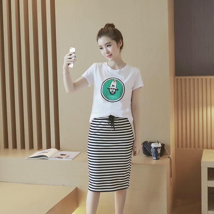 YJY韓國休閒T恤 包臀裙套裝^~AR51606^~~M.L