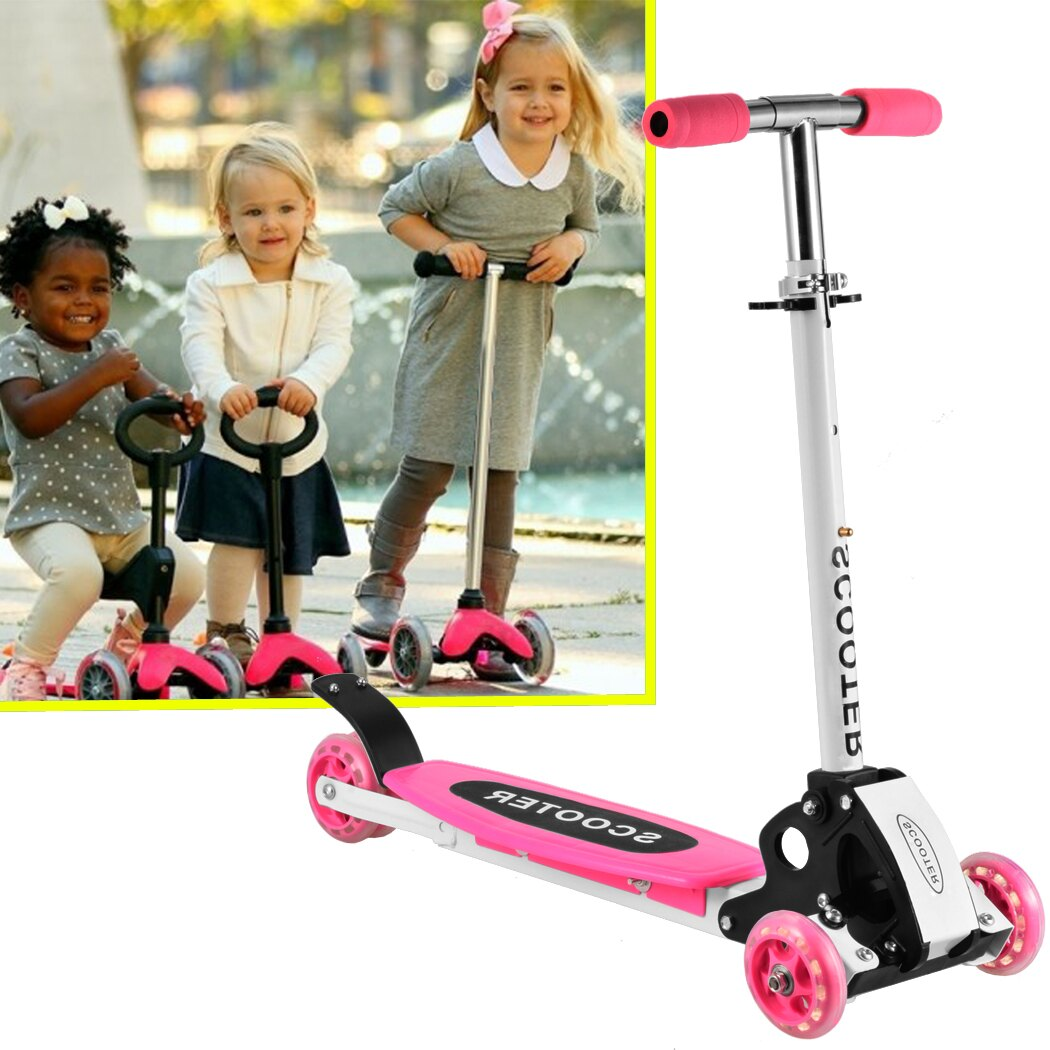 New Cute Kids Adjustable Folding Alloy Four Wheels Foot Scooter 1
