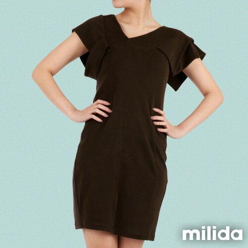 【Milida,全店七折免運】-早春商品-素色款-合身公主袖洋裝 2
