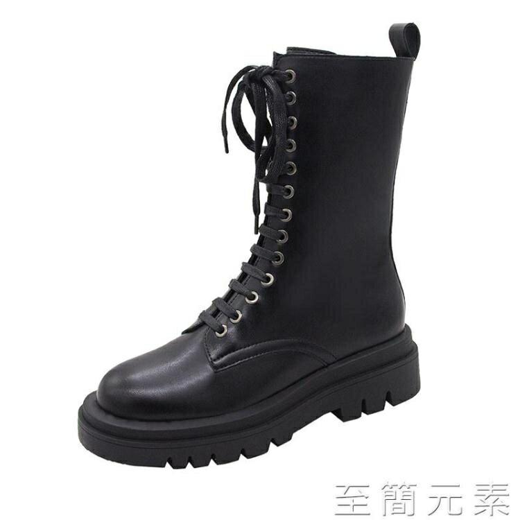 馬丁靴女英倫風年新款秋冬季單靴中筒靴厚底黑色機車靴短靴子