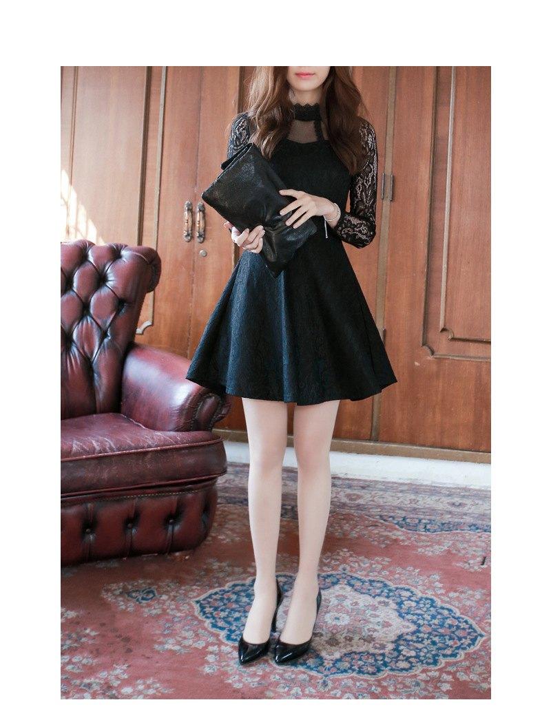 *原價599現折100*AT日韓-皇冠高領蕾絲洋裝2色【809042】 3