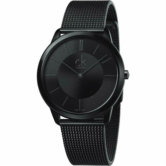 CK 經典系列(K3M214B1+K3M224B1)炫黑米蘭時尚腕錶/黑面40+35mm