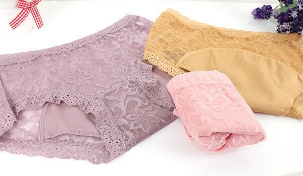 【AJM】親花超透氣低腰生理褲(隨機色) 3