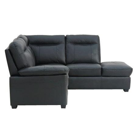 ◎(OUTLET)半皮左躺椅L型沙發 STONE BK 福利品 NITORI宜得利家居 2