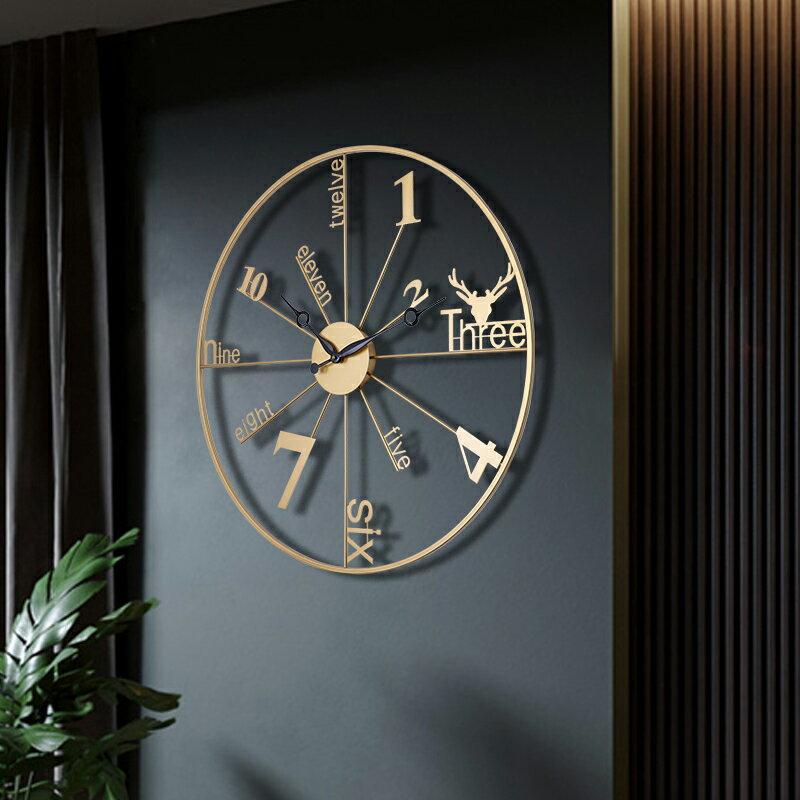 北歐風掛鐘 北歐輕奢掛鐘客廳現代簡約大氣時鐘個性創意藝術掛牆裝飾鐘表家用【DD35111】