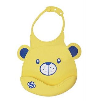 美國 Creative Baby 創寶貝 收納攜帶型防水矽膠學習圍兜-黃色小熊