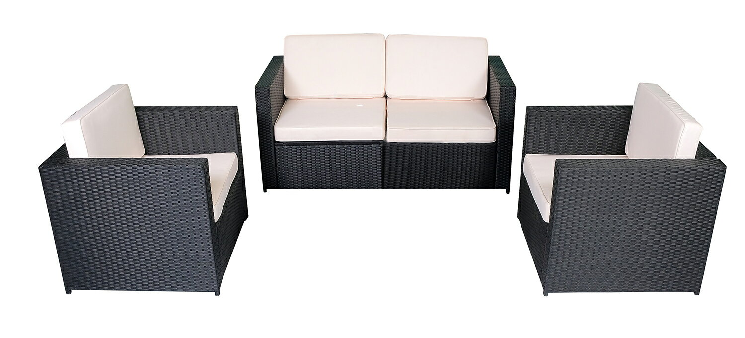 Pleasant Mcombo 4Pcs Black Wicker Patio Sectional Outdoor Sofa Furniture Set 6088 1005 A2 Cream White Unemploymentrelief Wooden Chair Designs For Living Room Unemploymentrelieforg