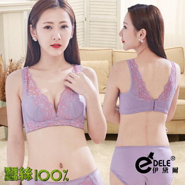 【伊黛爾】蠶絲媚惑雙色深溝曲線聚攏無鋼圈內衣褲套組-淺紫