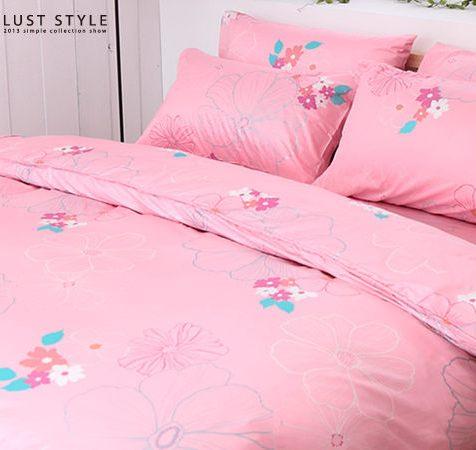 LUST生活寢具【法式浪漫 】100%精梳純棉、〈5尺床包/枕套/舖棉被套6x7尺〉【台灣製】