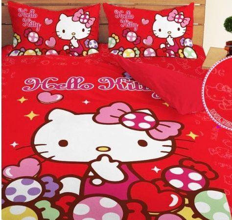 東億批發購物網:LUST寢具【HelloKitty彩虹糖樂園-紅】床包枕套被套、日本卡通授權、台灣製
