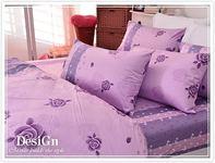 【名家設計款】玫瑰紫小花(K)100% 精梳棉 【床包5X6.2尺/枕套X2/雙人兩用舖棉被】4件組