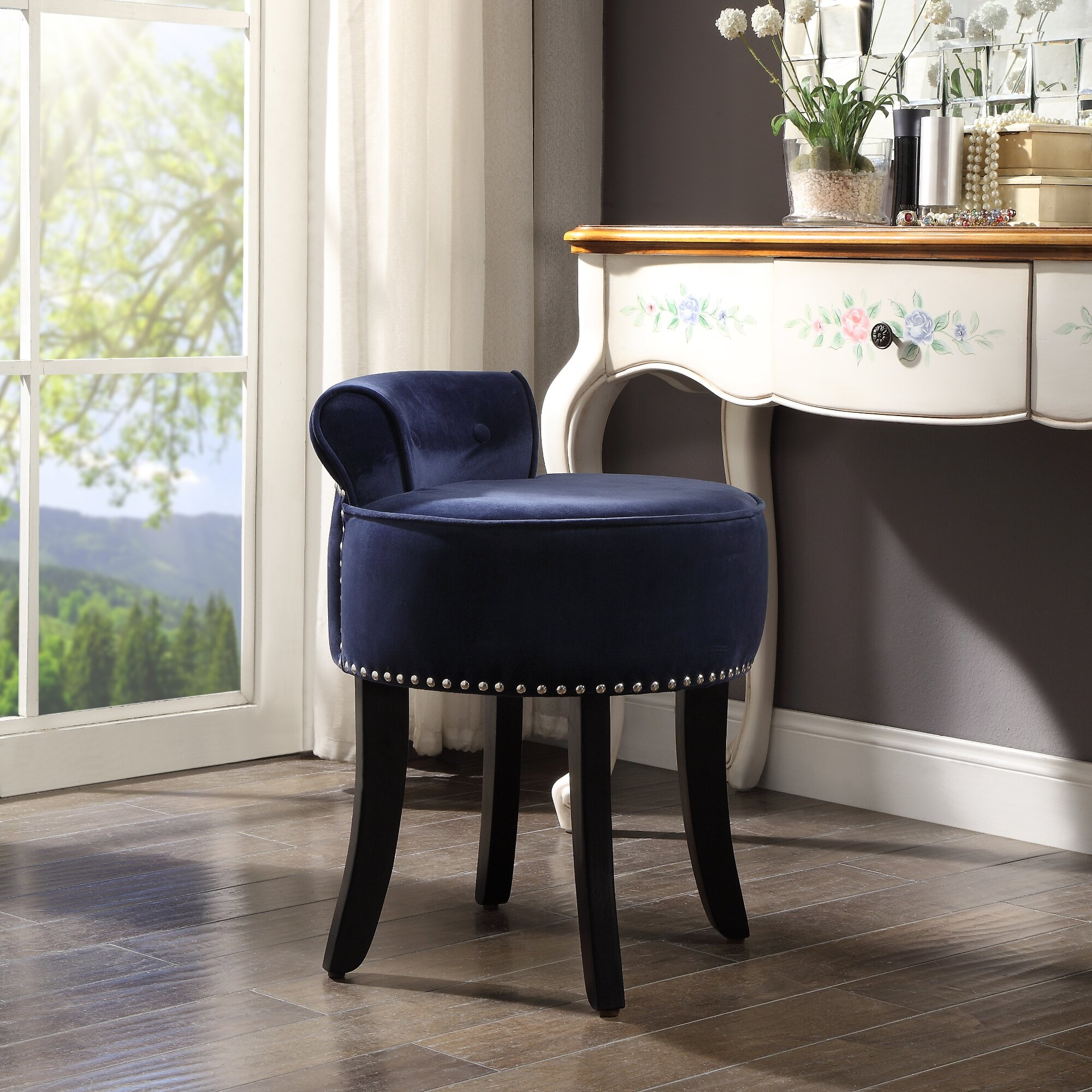 Enjoyable Ingrid Velvet Vanity Stool Nailhead Trim Roll Back Button Tufted Bedroom Inspired Home Bralicious Painted Fabric Chair Ideas Braliciousco
