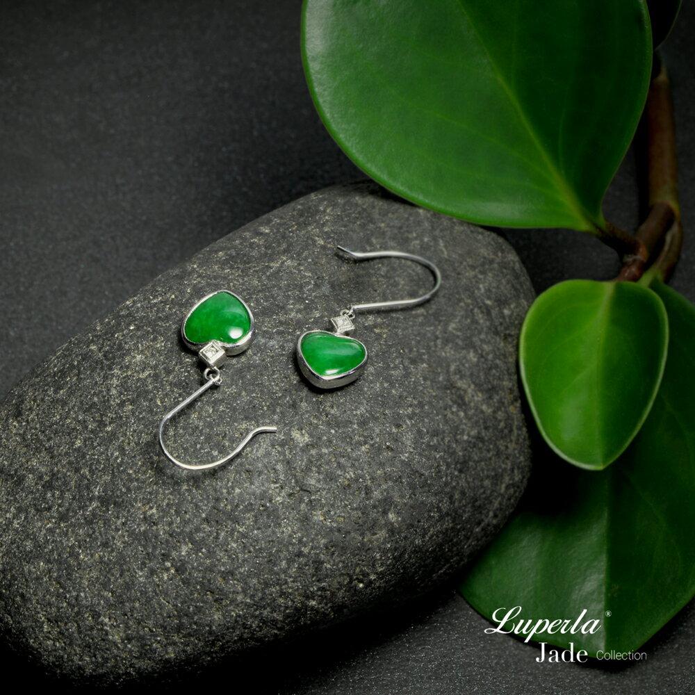 大東山珠寶 珍愛 天然緬甸老坑玻璃種A貨翡翠 頂級真鑽18K白金耳環 1