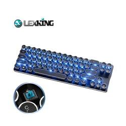 Lexking LKB-7130B 機械式鍵盤 藍光 復古迷你打字機鍵盤 電競鍵盤( 青軸/藍光/中文版)【迪特軍】
