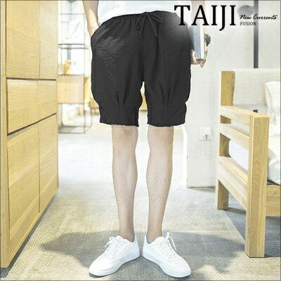 NTJ692658休閒短褲‧黑色素面休閒工作燈籠短褲‧一色【NTJ692658】-TAIJI-