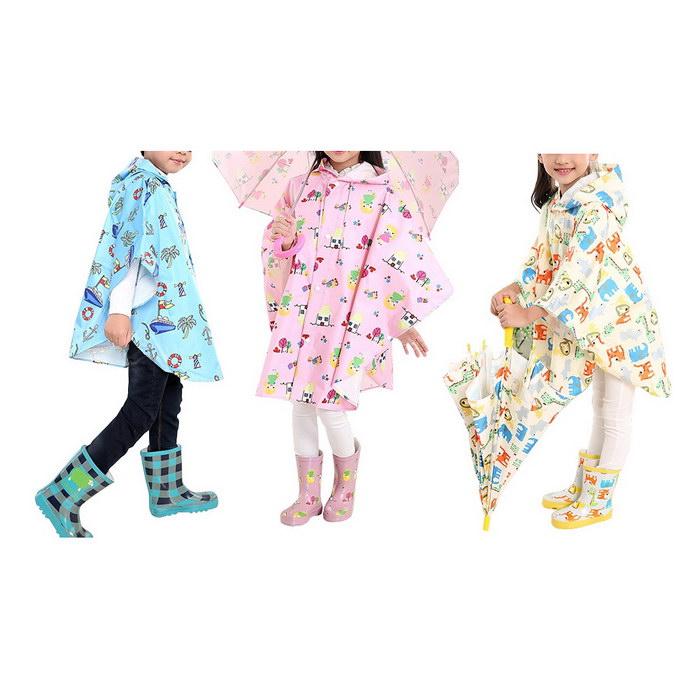 百搭兒童斗篷雨衣(藍色/粉紅/米黃)