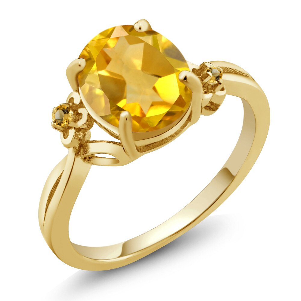 2.04 Ct Oval Yellow Citrine 18K Yellow Gold Plated Silver Ring 0