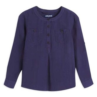 Little moni 法式街頭圓領長袖襯衫