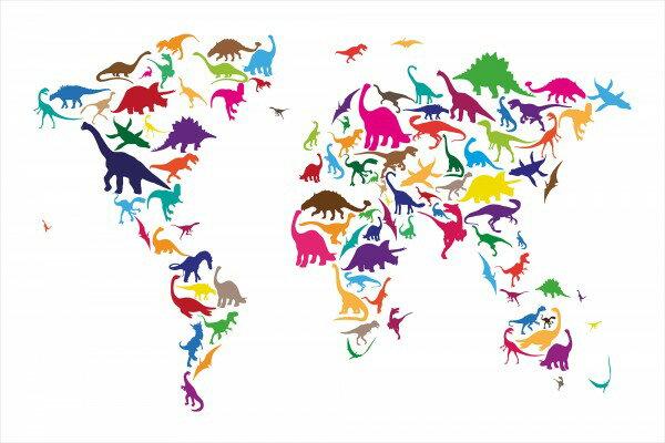 兒童房恐龍纹世界地圖壁畫訂製壁畫e22674