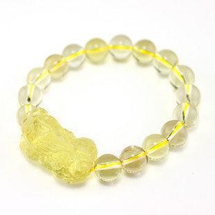 黃水晶貔貅手鏈 男女款手鏈 黃水晶 水晶手鏈
