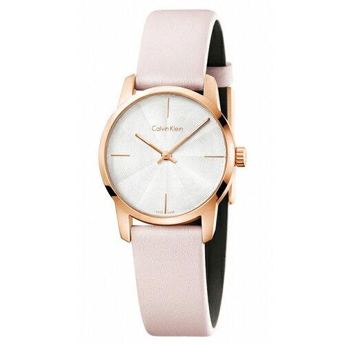 CK經典系列(K2G236X6)藝術波紋時尚皮帶腕錶白面31mm