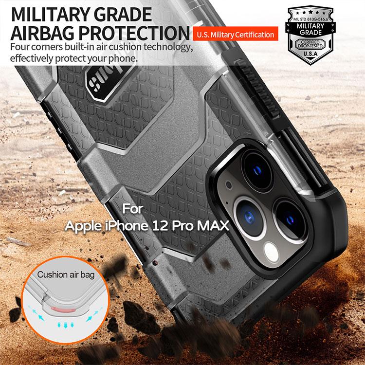 【軍工級防摔殼】Apple iPhone 12 Pro MAX 6.7吋 探索者防摔殼/氣囊保護殼/手機背蓋/半透明殼-ZW