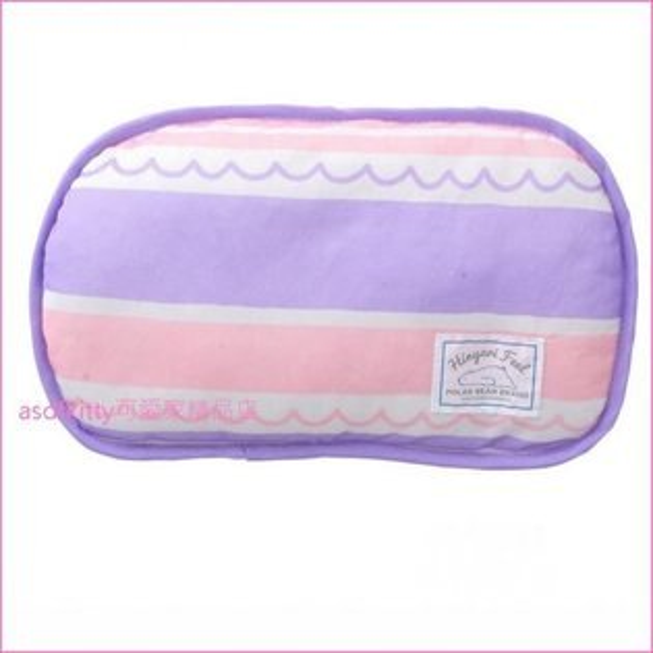 asdfkitty可愛家☆粉紫色條紋涼感午安枕小枕頭-20*30公分-日本正版商品