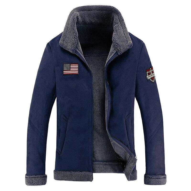 巴黎精品 皮衣外套翻領夾克-皮毛一體羊羔毛保暖男外套2色73wn18【獨家進口】【米蘭精品】