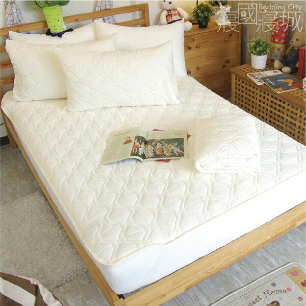 保潔墊雙人平鋪式3件組(含枕套) 日本DNW防螨技術、可機洗、細緻棉柔 5x6.2尺加厚鋪棉 #寢國寢城 #防螨 3