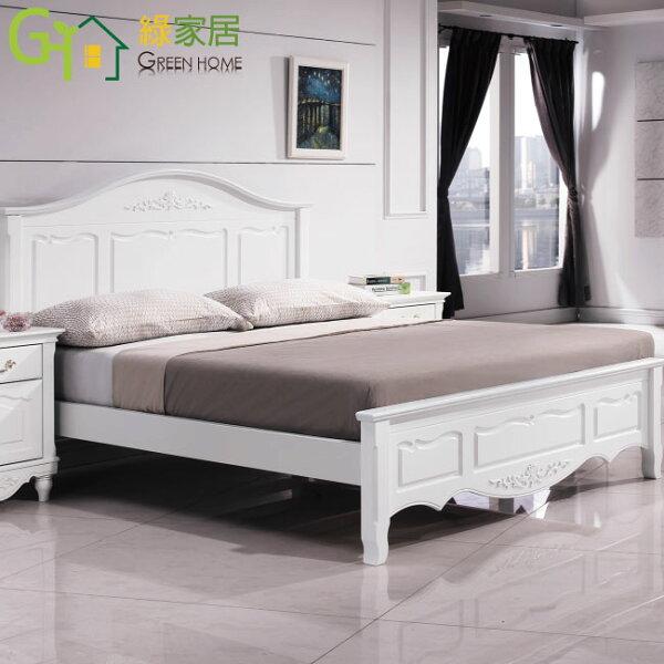 【綠家居】法達克法式白6尺雙人加大造型床台(不含床墊)
