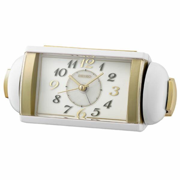 Seiko 精工鐘 (QHK047W) 滑動式秒針長形鬧鐘(金白色)/7.8*17.5*9.6 cm