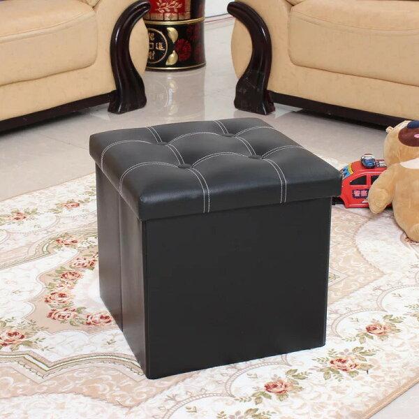 !新生活家具!《安娜》黑色皮革正方形帶蓋皮革收納凳收納箱儲物箱椅子凳子