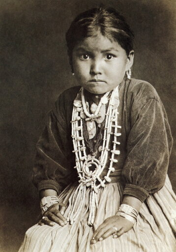 Navajo Girl 1920 Nthe Daughter Of A Navajo Silversmith Wearing A Velvet Blouse And Skirt Adapted From The Apparel Of White Settlers And Jewelry Of Coral Turquoise Silver And Shell Photographed By Jose b5b695f652ddbe8ec2e352104601102d