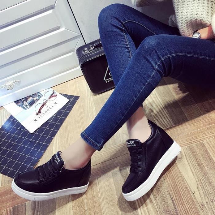 增高鞋 春秋季休閒鞋女內增高女鞋小白鞋透氣繫帶運動鞋鬆糕厚底坡跟單鞋