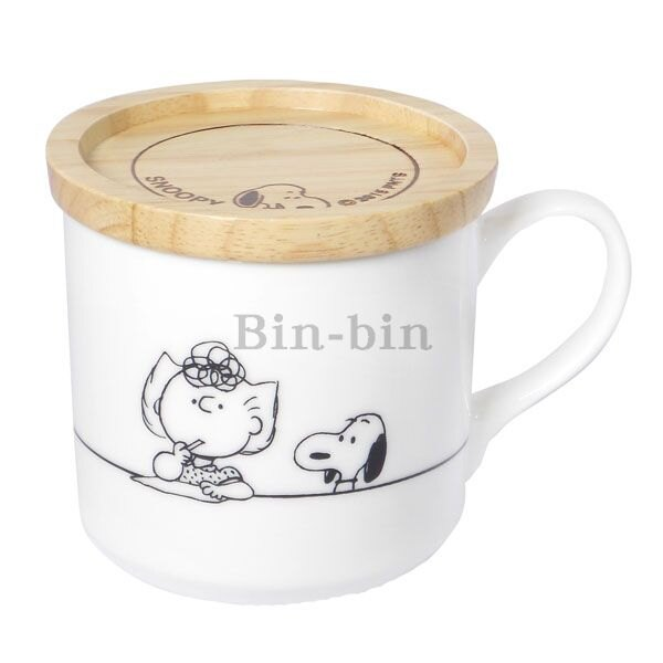 史努比 莎莉附木製蓋馬克杯 049~618