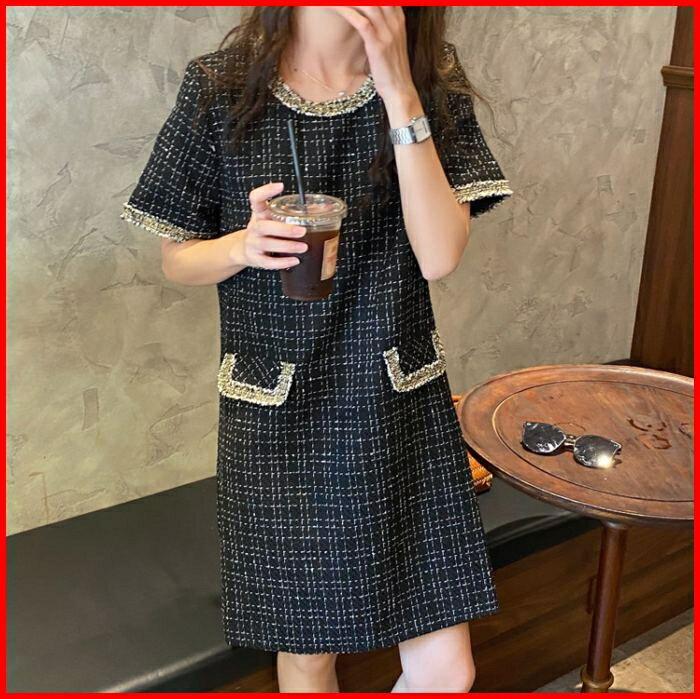 小香風洋裝金絲線編織格紋短袖連衣裙 2色 依米迦