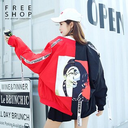 Free Shop:FreeShop情侶款暗黑潮流小丑撞色拼接運動遮陽風衣外套街頭防風外套夾克男女中性款【QAAEG7140】