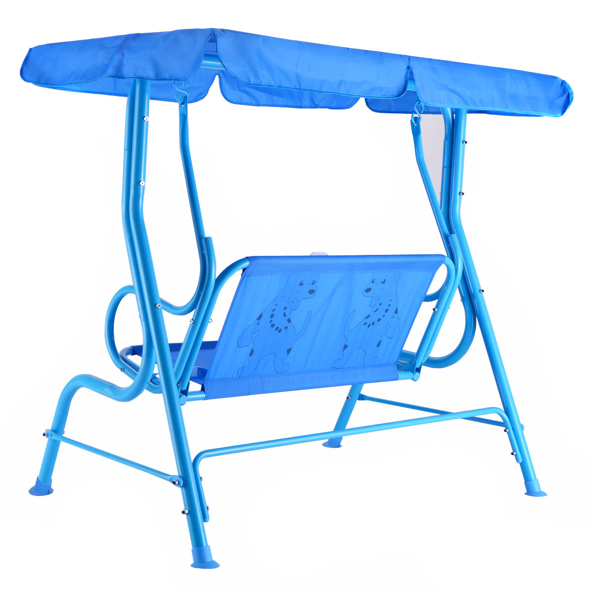 costway kids patio swing chair children porch bench canopy 2 person yard furniture blue 4 - Patio Swing Chair
