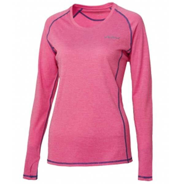 《台南悠活運動家》WILDLAND61611女圓領雙色抗UV長袖上衣蜜粉紅