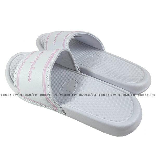 Shoestw【923250206】CHAMPION 拖鞋 運動拖鞋 白粉方框 女生尺寸 2