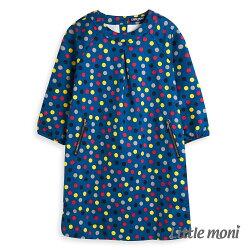 Little moni 幾何印花洋裝-土耳其藍