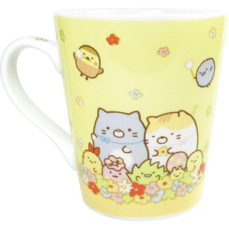角落小夥伴 角落生物 貓咪恐龍白熊 馬克杯 水杯 杯子 單耳杯 瓷製 陶瓷馬克杯 花圈 GT10 真愛日本
