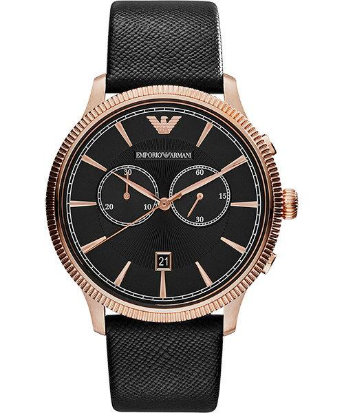 EMPORIO ARMANI/AR1792搶眼風格雙環計時腕錶/黑面43mm