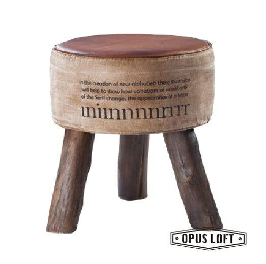 仿舊LOFT復古工業風 原木三腳 圓形 矮凳