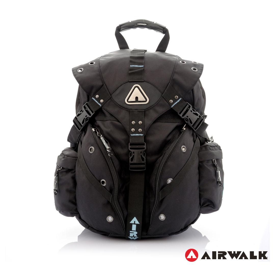 AIRWALK街頭系列-美式潮流三叉釦尼龍後背包(淺藍)(大容量)